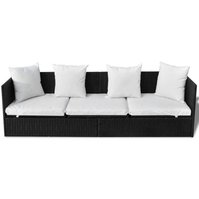 Canap lit noir en poly rotin avecc oreillers coussins achat vente fauteu - Canape en polyurethane ...