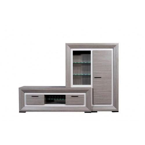 Lynea rangement bois gris et laque l125 cm achat vente - Meuble tv bois gris ...