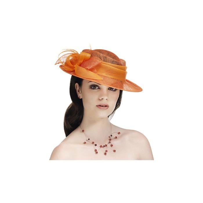 chapeau de c r monie pour femme orange unique orange. Black Bedroom Furniture Sets. Home Design Ideas