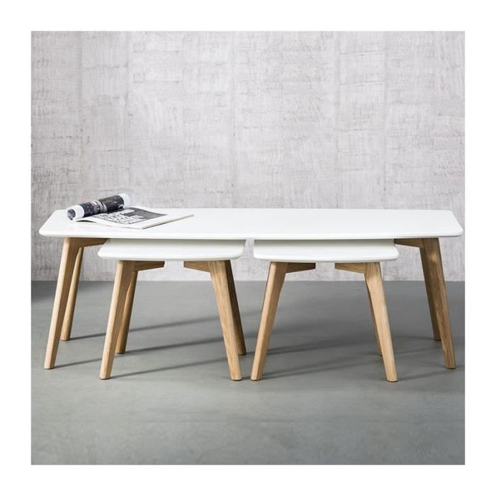 Table basse moderne avec chevets blanche stream blanc - Table basse blanche moderne ...