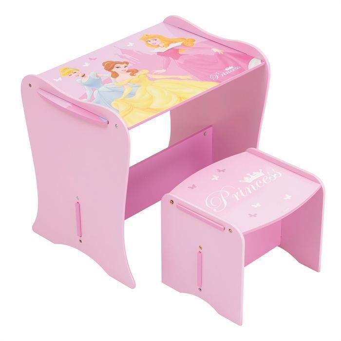 Petit bureau enfant avec tabouret rose princesse disney - Bureau enfant princesse ...