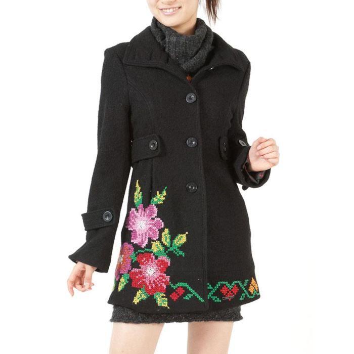 desigual manteaux femme manteau noir achat vente. Black Bedroom Furniture Sets. Home Design Ideas