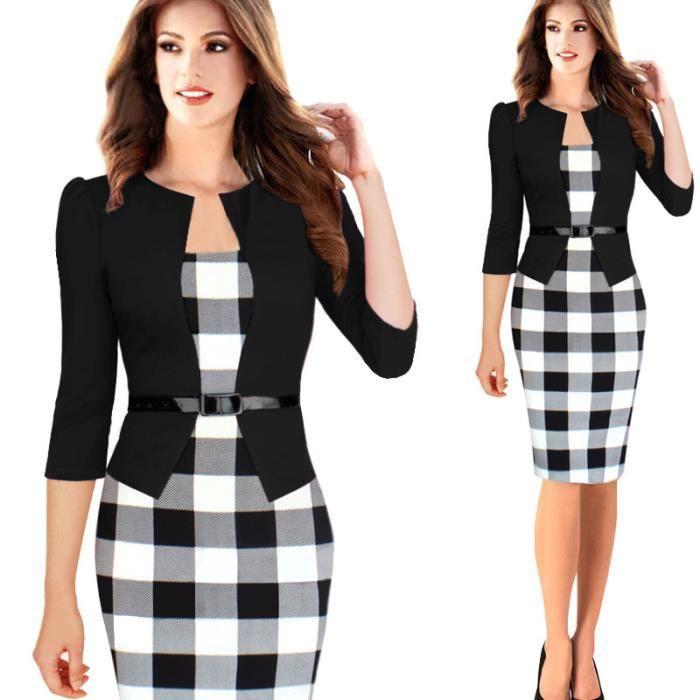 Robe femme vetement treillis dame de bureau noir achat vente robe cdiscount - Vetement de bureau pour femme ...