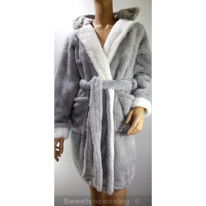 Robe de chambre capuche femme hiver chaude e gris gris achat vente chemise de nuit - Robe de chambre femme tres chaude ...