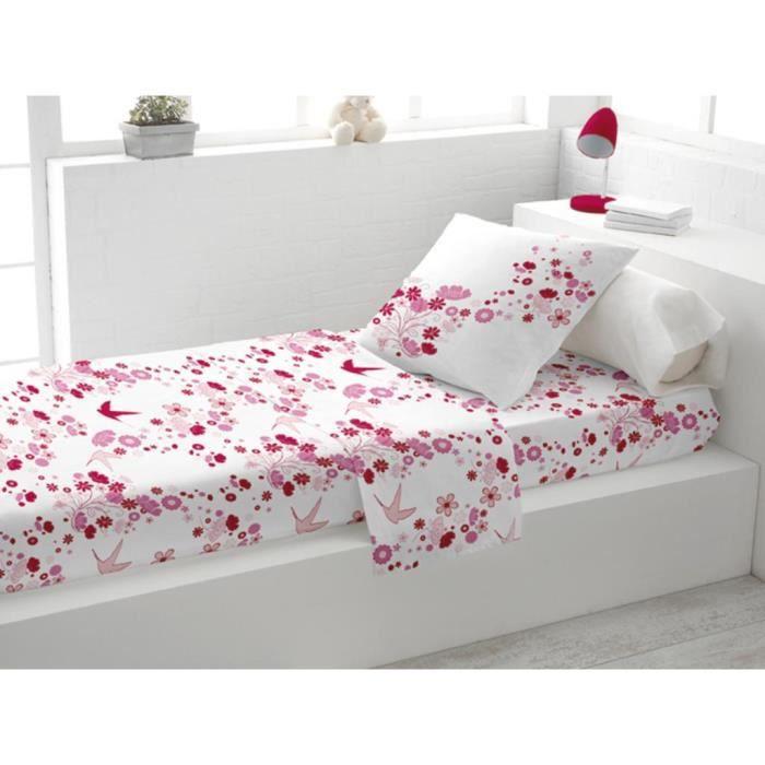 parure de lit coton 1 place hirondelle rose achat vente parure de drap. Black Bedroom Furniture Sets. Home Design Ideas