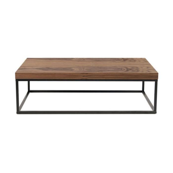 Table basse rectangulaire prairie plateau noyer pieds noirs achat vente - Table basse plateau montant ...