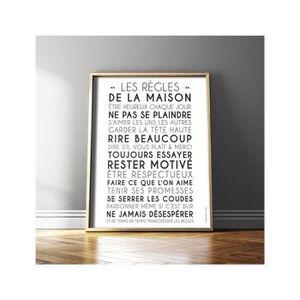 tableau les regles de la maison achat vente tableau les regles de la maison pas cher cdiscount. Black Bedroom Furniture Sets. Home Design Ideas