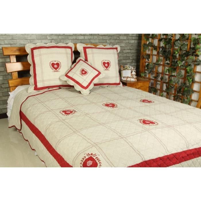 couvre lit boutis 2 places chamonix meribel rouge achat vente jet e de lit boutis cdiscount. Black Bedroom Furniture Sets. Home Design Ideas