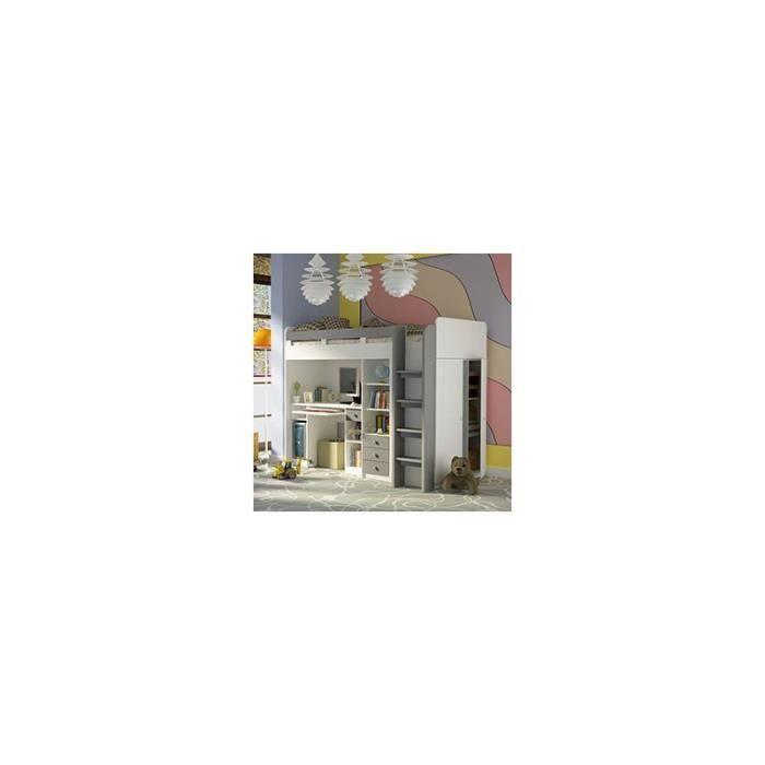 Lit combin avec bureau et rangements gris et blanc ewan - Bureau gris et blanc ...