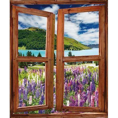 Sticker fen tre trompe l 39 oeil paysage r f 745 dimensions for Vendeur fenetre