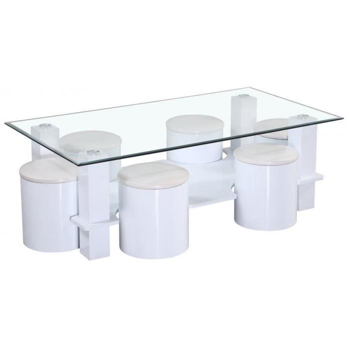 Table de salon en verre avec 6 poufs blanc laqu achat - Table de salon avec pouf ...