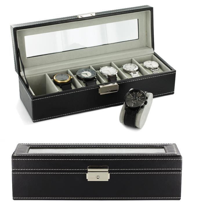 boite coffret de rangement montres pour 6 montres simili cuir avec cl achat vente. Black Bedroom Furniture Sets. Home Design Ideas