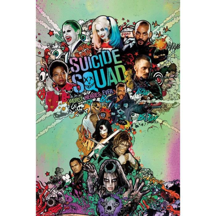 suicide squad poster achat vente suicide squad poster pas cher les sold. Black Bedroom Furniture Sets. Home Design Ideas