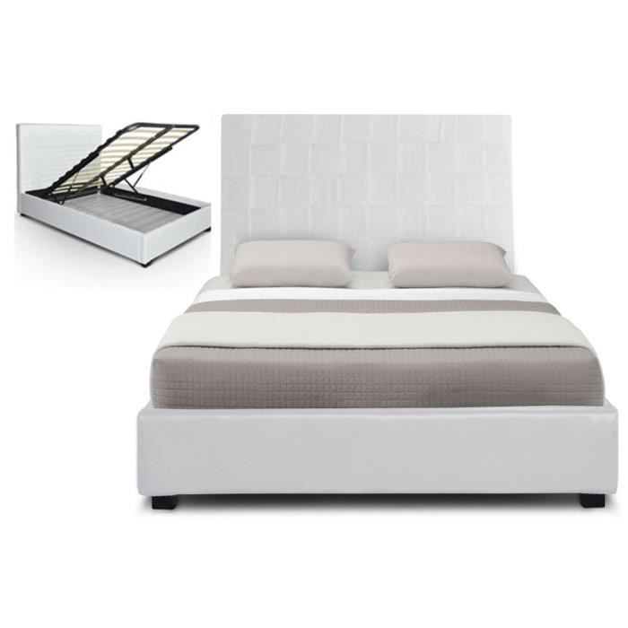 lit coffre pu aspect cuir 160 cm blanc hypnos achat. Black Bedroom Furniture Sets. Home Design Ideas