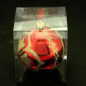 Boule de noël décorée - Fleur et diamant - Roug…