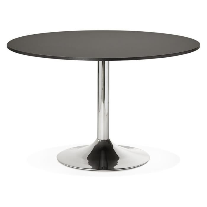 table de bureau diner ronde 39 saopolo 39 noire 120 cm achat vente table a manger seule. Black Bedroom Furniture Sets. Home Design Ideas