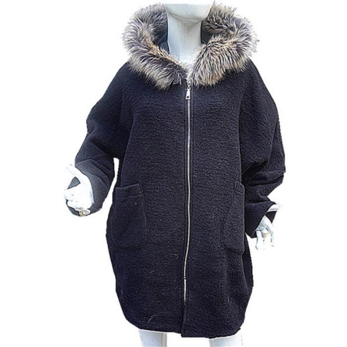 manteau femme veste laine grande taille 44 46 48 50 52 fourrure chaud ample noir noir noir. Black Bedroom Furniture Sets. Home Design Ideas