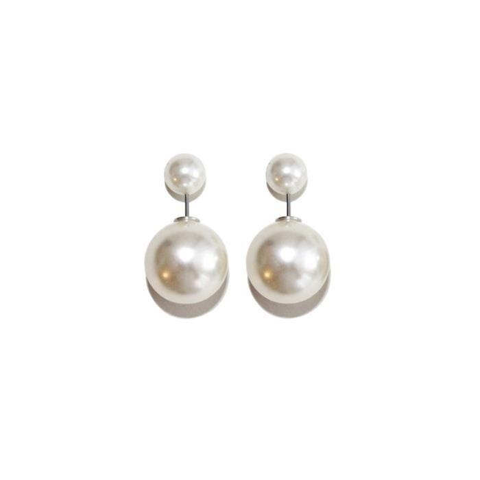 boucle d 39 oreille double perles blanche nacr e achat vente boucle d 39 oreille boucle d 39 oreille. Black Bedroom Furniture Sets. Home Design Ideas