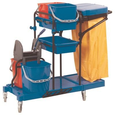 Chariot de m nage 4 seaux avec presse char menage lavage 2x15l 2x6l composition 1 for Chariot de menage