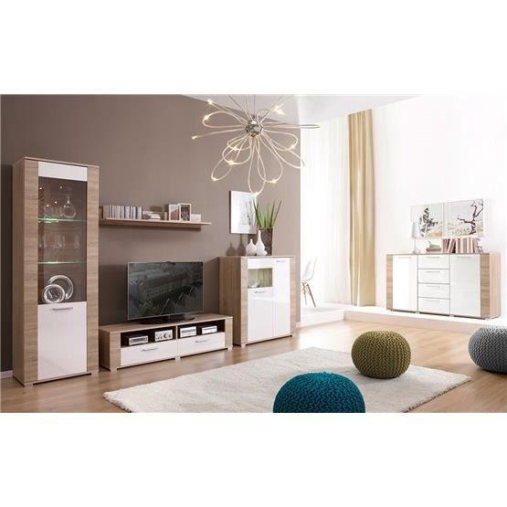 meuble tv et commode design erness bois clair et blanc composition bois laqu achat. Black Bedroom Furniture Sets. Home Design Ideas