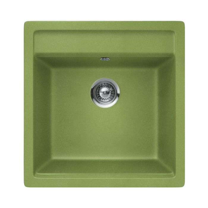 Vier granit vert schock nemo 1 bac 570x510 achat vente evier de cuisine vier granit vert - Evier granit de design moderne par schock ...