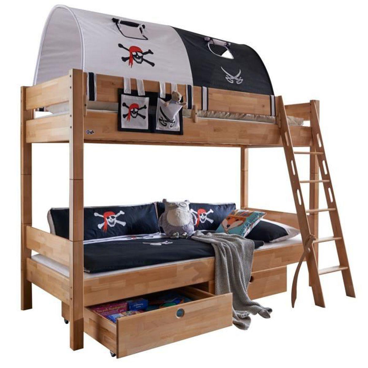 lit superpos 90x200 cm s parable avec 2 tiroirs en h tre massif et tunnel de jeu design pirate. Black Bedroom Furniture Sets. Home Design Ideas