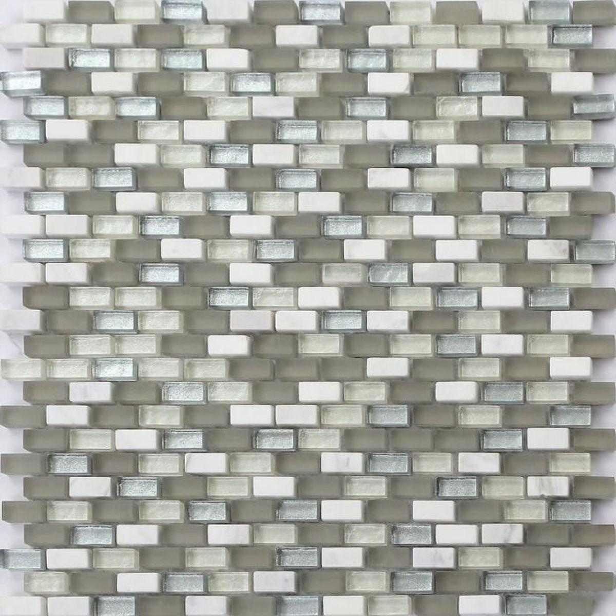 1 m2 carrelage mosa que en verre dans blanc gris et - Peinture carrelage argent ...