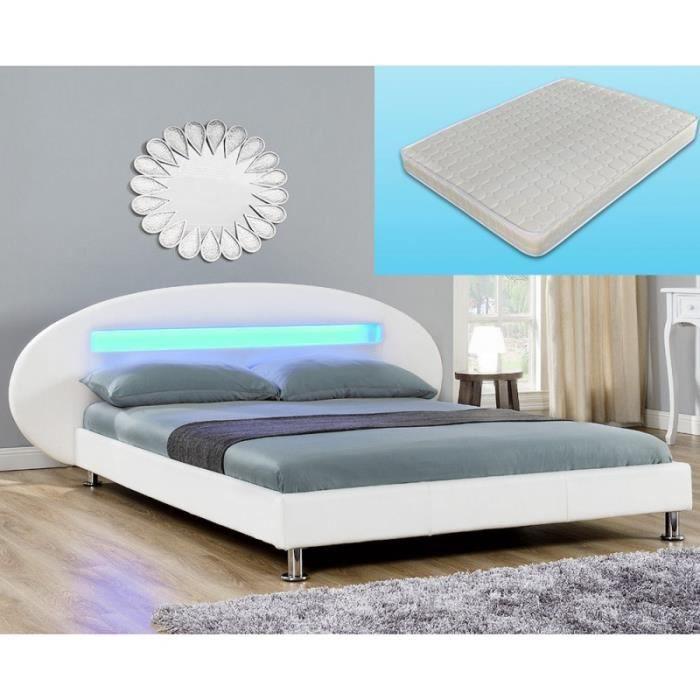 Lit design blanc avec matelas 180 x 200 cm t te arrondie for Lit design complet