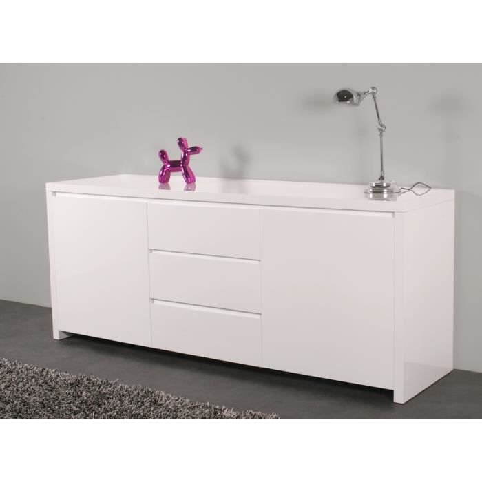 malte bahut 190 3 tiroirs 2 placards blanc brillant achat vente buffet bahut malte. Black Bedroom Furniture Sets. Home Design Ideas