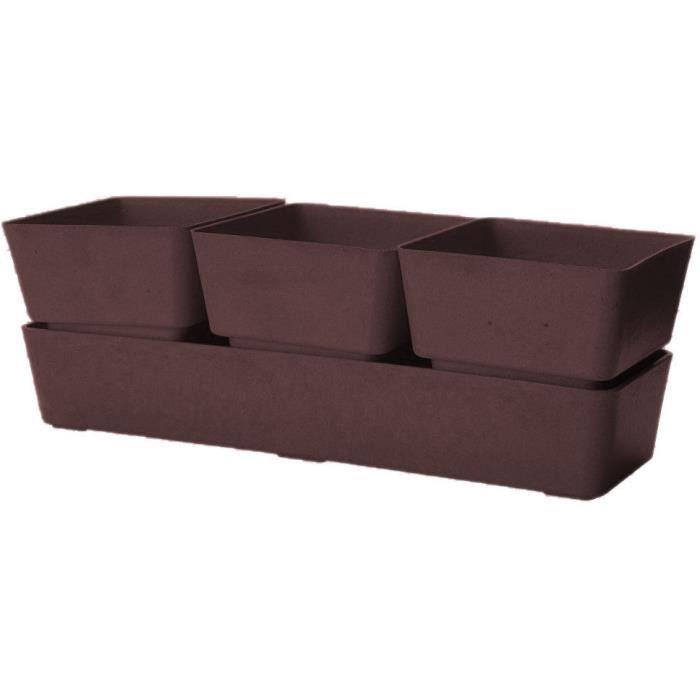 Jardini re chocolat 3 pots en bambou et r sine achat for Pots en resine jardin