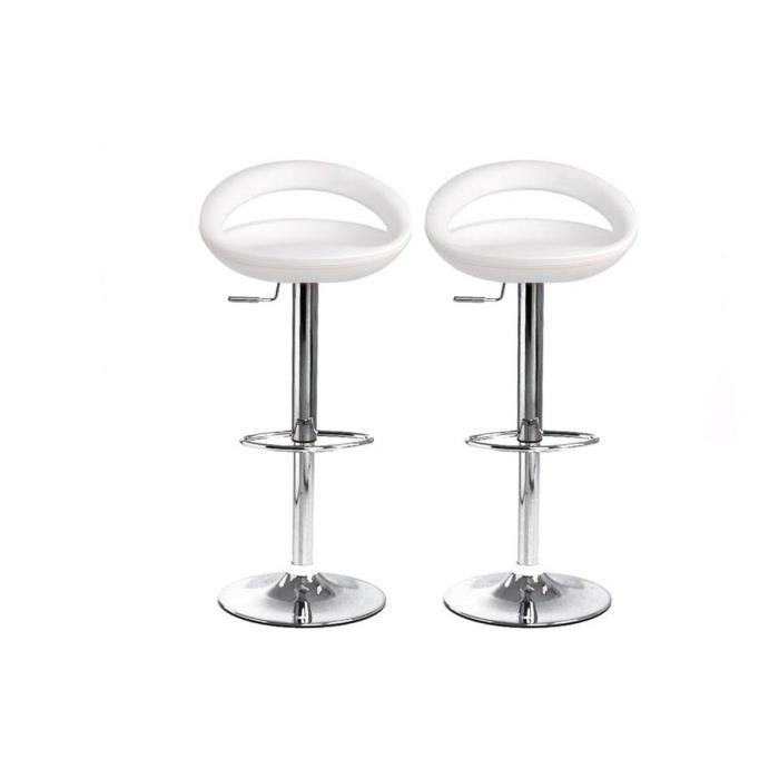 tabourets de bar blanc moderne pvc comet x 2 achat. Black Bedroom Furniture Sets. Home Design Ideas