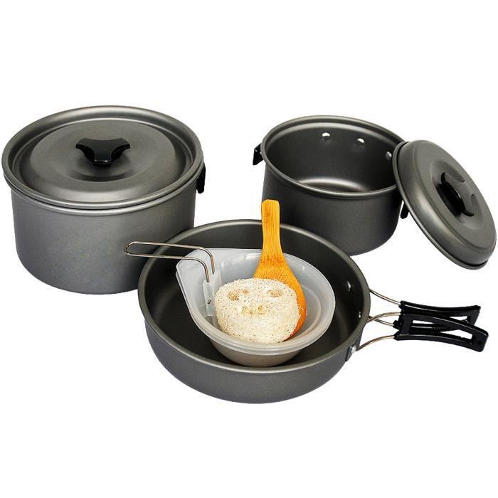 tarion lot d ustensiles de 11 pi ces casserole po le vaisselle en aluminium pour le camping. Black Bedroom Furniture Sets. Home Design Ideas
