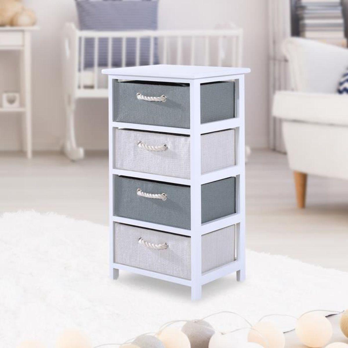 chiffonnier commode bois de paulownia 4 tiroirs toile de chanvre 40l x 29l x 73hcm blanc neuf 17. Black Bedroom Furniture Sets. Home Design Ideas