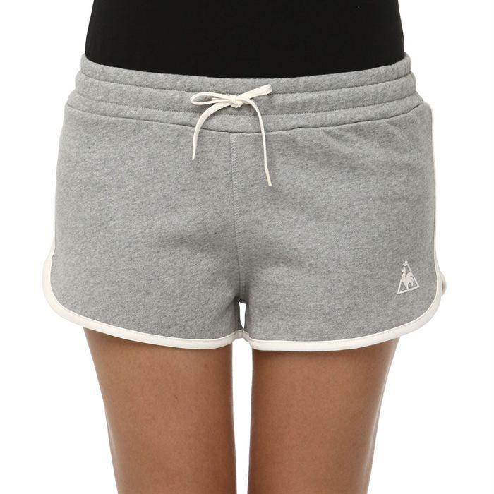 le coq sportif short super shorts femme gris et beige achat vente short bermuda de sport