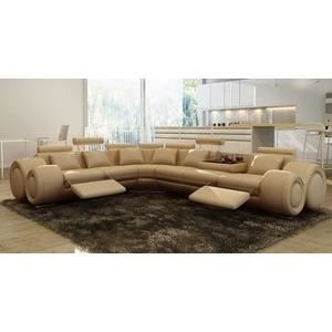 Canap d 39 angle cuir beige positions relax oslo an achat vente canap - Canape d angle cuir beige ...