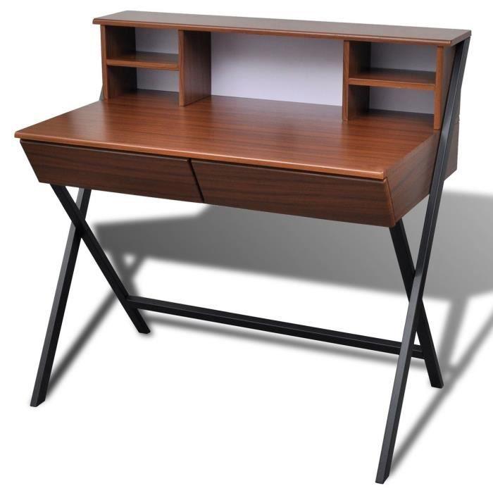 Table d 39 ordinateur avec 2 tiroirs brun achat vente for Meuble bureau jambes