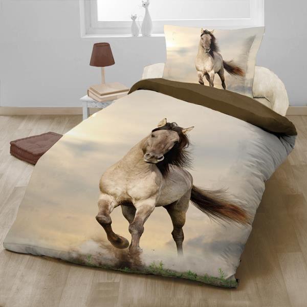 Parure de lit cheval 140 x 200 cm achat vente parure - Housse de couette cheval ...