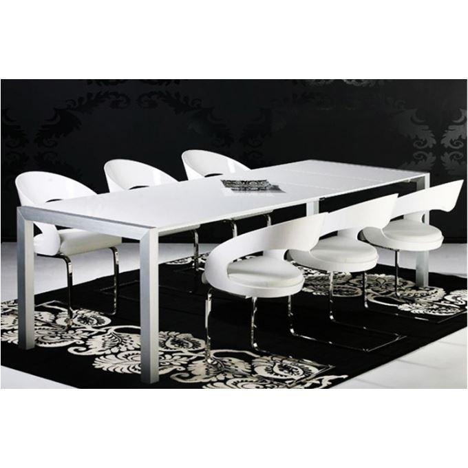 Table manger rallonge prestige blanc laqu achat for Table blanc laque rallonge