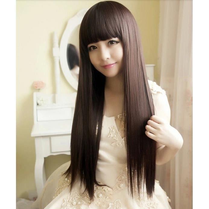 Perruque Femme Longue Et Droite Faux Cheveux Avec Frange