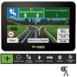 "GPS AUTO MAPPY S549, GPS 5"", 14 pays - Cartes & Trafic grat"
