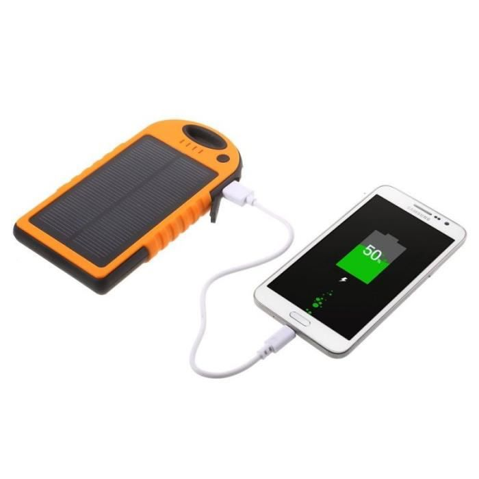 batterie autonome powerbank 12000 mah power bank chargeur solaire orange adapt e tous les. Black Bedroom Furniture Sets. Home Design Ideas