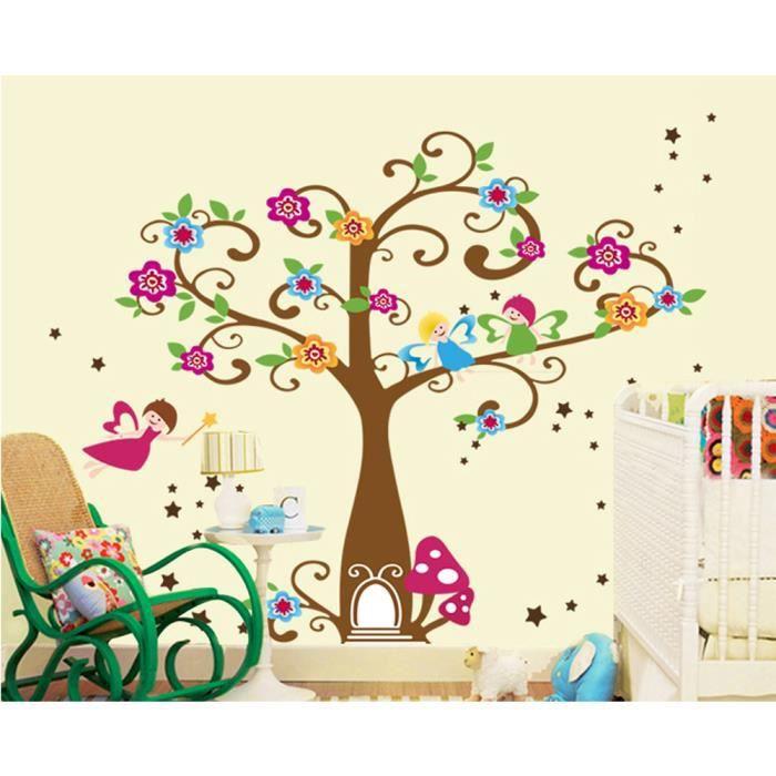 stickers muraux arbre de fleurs et petits lutins achat With chambre bébé design avec fleurs achat en ligne