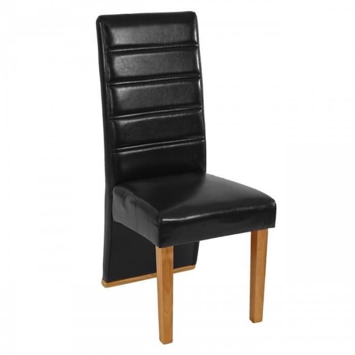 Lot de 6 chaises de salle manger pu noir 1904005 achat for Lot de 6 chaises de salle a manger