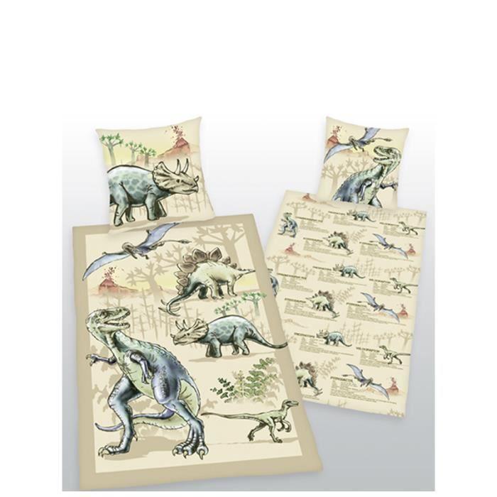 parure de couette dinosaure 1 personne lit 90 cm achat vente housse de couette soldes. Black Bedroom Furniture Sets. Home Design Ideas