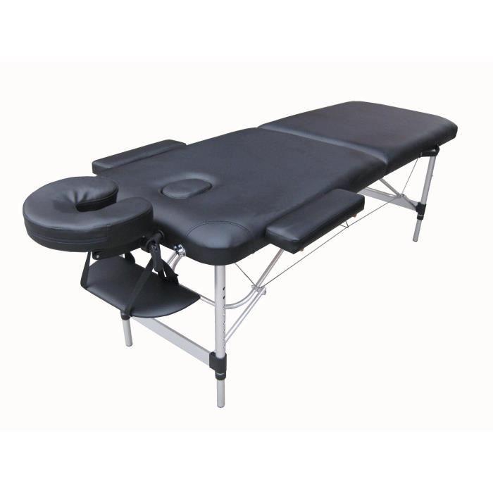 n6k table de massage noire pliante portable alu achat. Black Bedroom Furniture Sets. Home Design Ideas