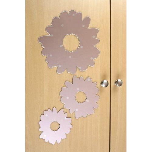 home chic lot de 9 autocollants miroirs en forme de fleurs. Black Bedroom Furniture Sets. Home Design Ideas