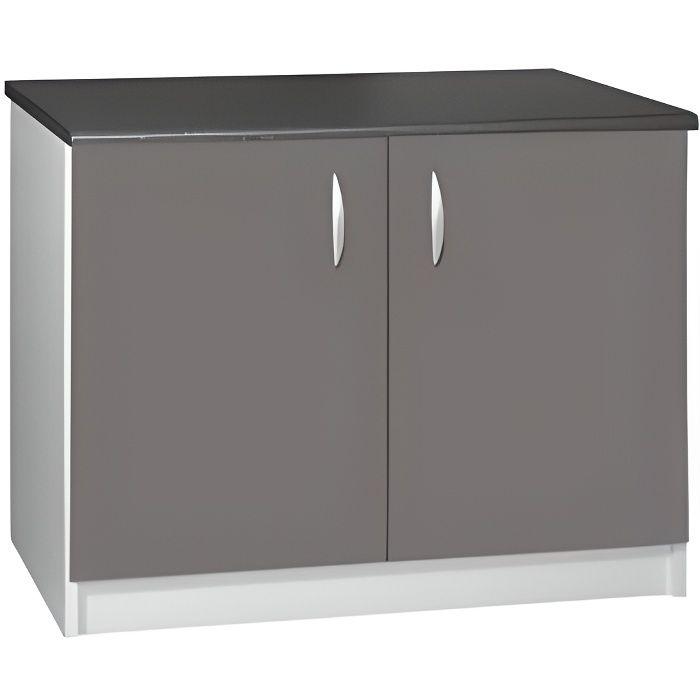 Meuble cuisine bas 120 cm 2 portes oxane gris achat - Meuble bas 120 cm cuisine ...