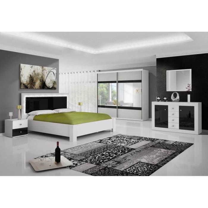 Chambre compl te roma noir et blanc led avec armoire achat vente chambre compl te chambre for Chambre adulte complete blanche
