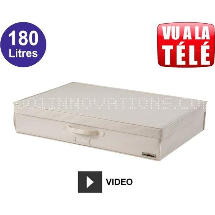 compactor coffre sous vide extra plat 180l beige achat vente housse de rangement compactor. Black Bedroom Furniture Sets. Home Design Ideas