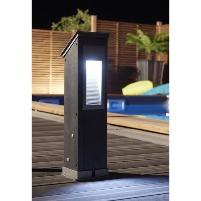 Luminaire poteau h 530 mm chocolat achat vente luminaire poteau h 530 mm c pin bois inox for Poteau eclairage exterieur